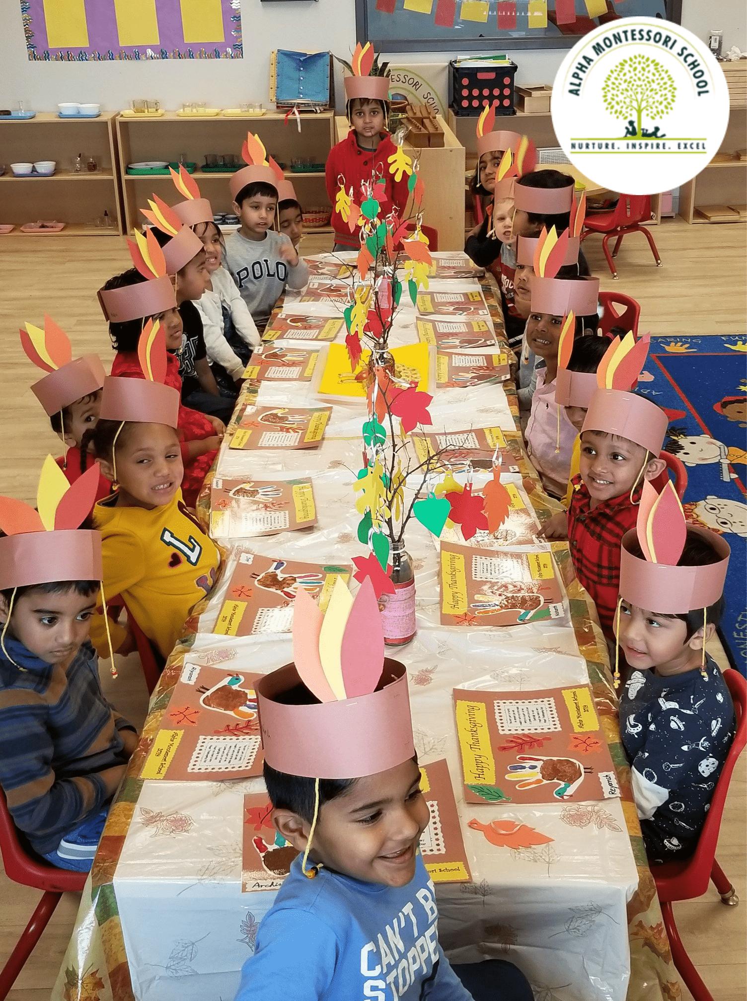 Feast Thanksgiving in Alpha Montessori School, Frisco & Plano