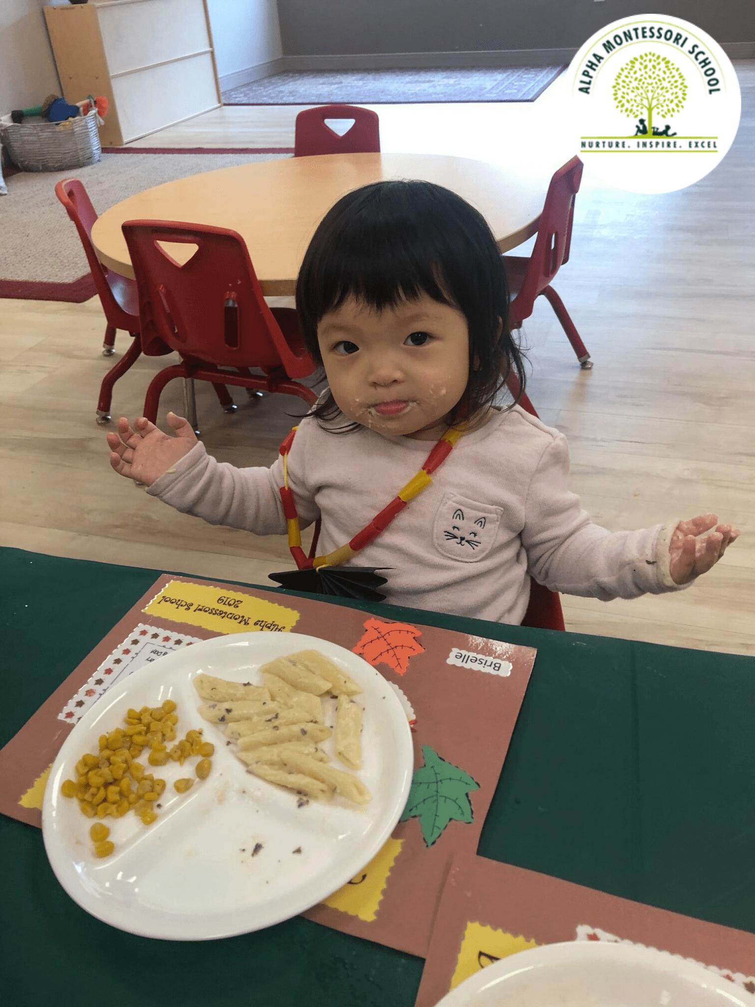 Thanksgiving feast in Alpha Montessori School, Plano & Frisco