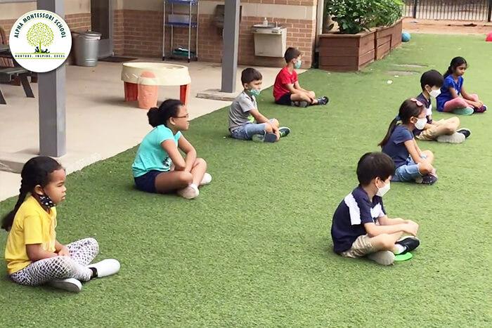 Children maintaining social distancing in schools Montessori school north dallas